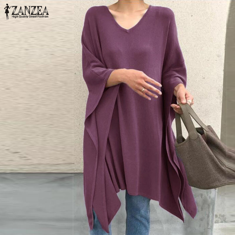 ZANZEA 2020 Fashion Spring Tops Women's Asymmetrical Blouse Casual 3/4 Sleeve Blusas Poncho Female V Neck Cape Plus Size Tunic