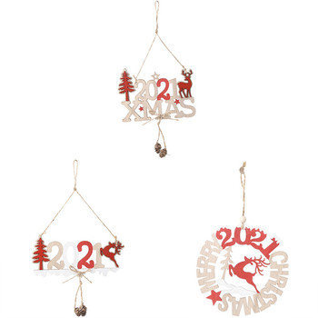 1Pc Merry Christmas 2021 Wooden Pendant Ornaments New Year Christmas Tree Wall Hanging Decorations Creative door hanging pendant image