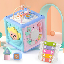 Baby Multi-Function Musical Toy Geometric Building Block Knocking Piano Drummer Polyhedral Body Cube Educational Toy Gift