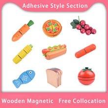 Brinquedo de madeira para crianças, conjunto de brinquedos de cozinha com estilo adesivo, frutas, vegetais, cortador, fingi, jogar menina, brinquedos para crianças, cozinha, brinquedos de madeira