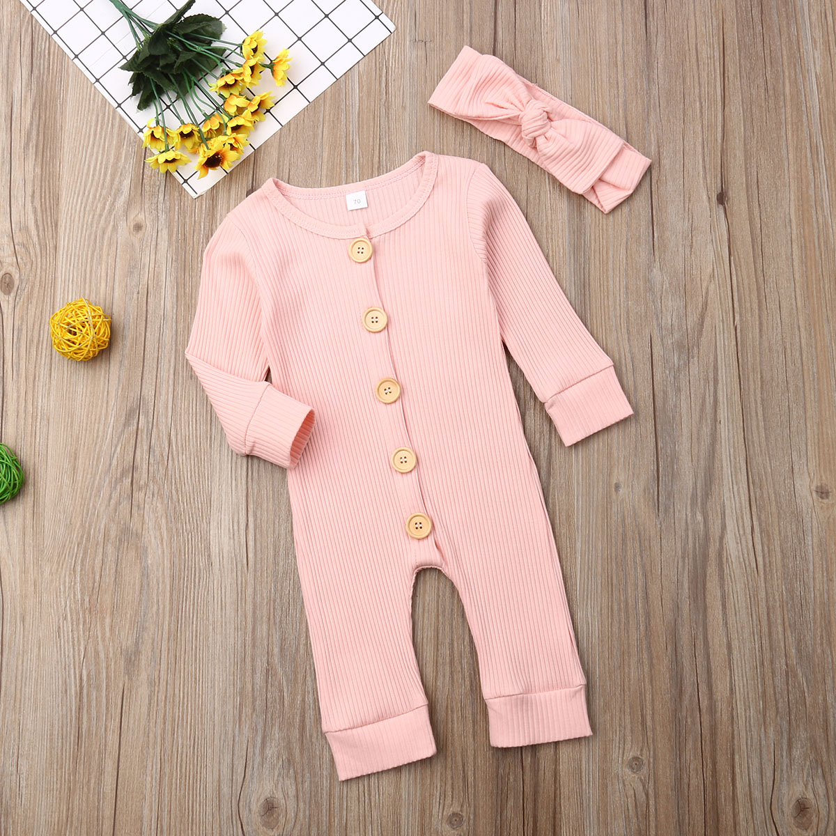 H8416485b11e9432fb04c2b6fd8b67e45t Spring Fall Newborn Baby Girl Boy Clothes Long Sleeve Knitted Romper + Headband Jumpsuit 2PCS Outfit 0-24M