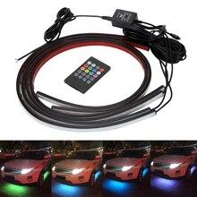 Leepee 4X8 Led Flexibele Strip Auto Underglow Decoratieve Sfeer Lamp Underglow Underbody Muziek Actieve Systeem Geluid Neon Light
