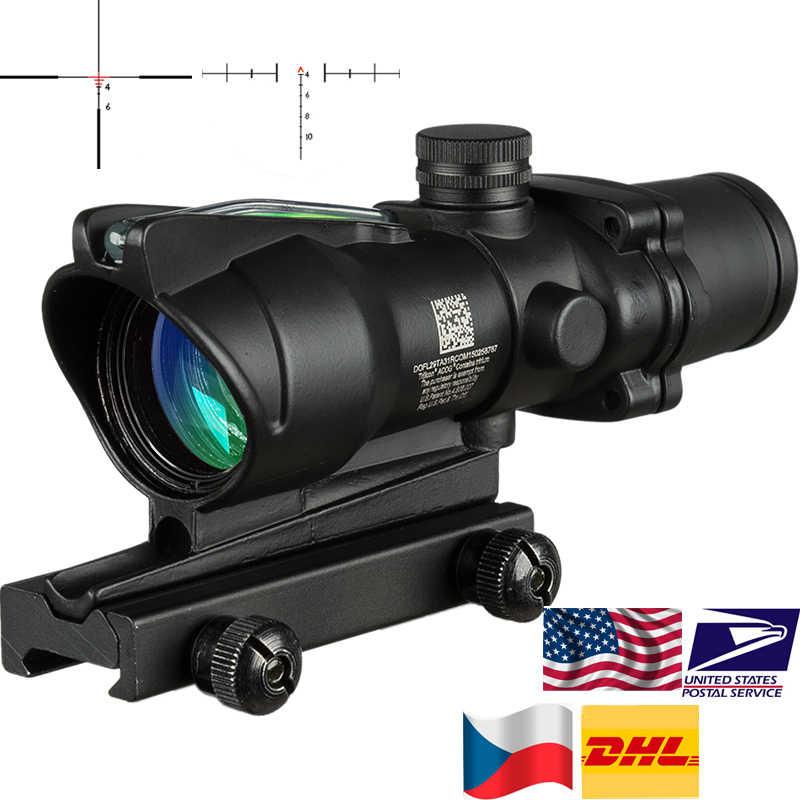 نطاق صيد تكتيكي مضاء أحمر من مصدر الألياف من إكوج 4X32 أسود اللون طراز Riflescope