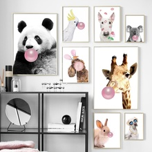 Panda Dog Koala Giraffe Hamster Animal Nordic Posters And Prints Wall Art Canvas Painting Pictures For Baby Kids Room Decor