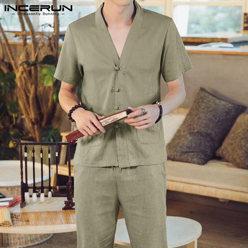 INCERUN Summer Vintage Solid Color Men Sets V Neck Short Sleeve Shirt Tang Suit Calf Length Pants Cotton Chinese Style Mens Sets