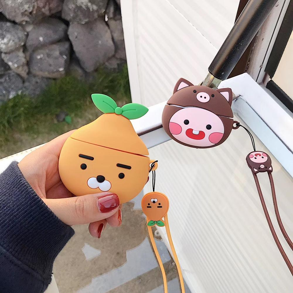 For Apple Airpods Pro 2 1 Cute 3D Orange Bear Peach Lanyard Bluetooth Wireless Silicone Case Charging Headphone Case Cover