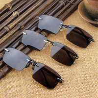 Vazrobe Glass Sunglasses Men Rimless Crystal Glasses Brown Stone Sunglass Anti Eye Dry Driving Outdoor Goggles Vintage for Elder