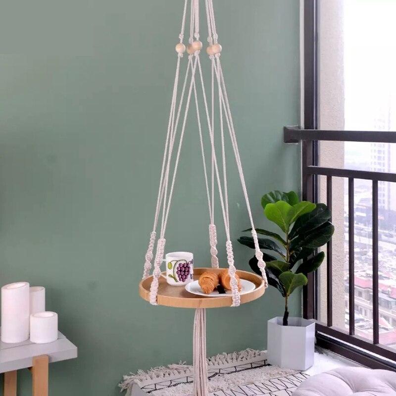 Créatif gland coton corde tissé suspendus planteur étagère maison décorative support de pot de fleur support Rack Succulents petites plantes