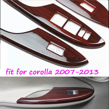 New 1 Set 4Pcs high-class Car Window Switch Panel Door Handle Armrest Trim For TOYOTA COROLLA COROLA CARORA 2007-2013 image