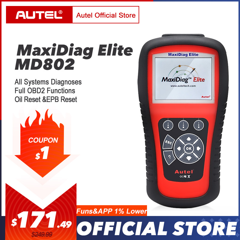 AUTEL MaxiDiag Elite MD802 OBD2 Scanner All System Car Detector OBDII Code Reader EPB Oil Reset OBD 2 Diagnostic Tool PK MD805-in Code Readers & Scan Tools from Automobiles & Motorcycles