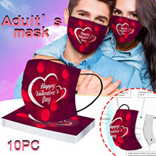 10pc Mascarillas jetable Masque visage adultes modèle saint valentin Maske Mascarilla Estampada Masque De Protection Masken