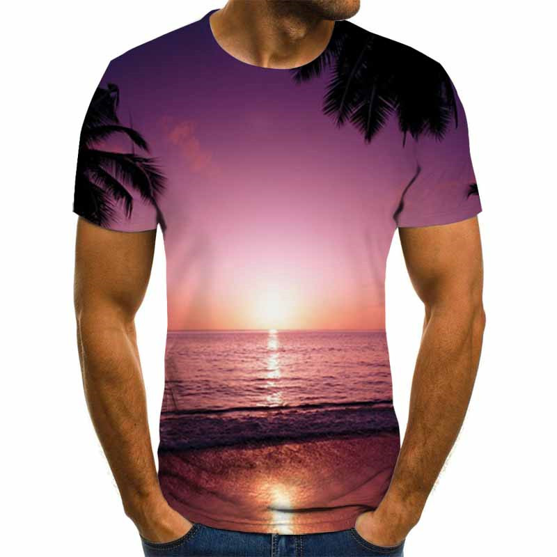 Hot Sale Space Cloudly T Shirt Men Short Sleeve Cool Colorful Cloud Male T-Shirts Brand Summer Menswear Funny Causal 3D Tshirt