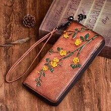 Vintage Women Wallets Embossed Long Zipper Wallet Ladies Purse Cards Ho