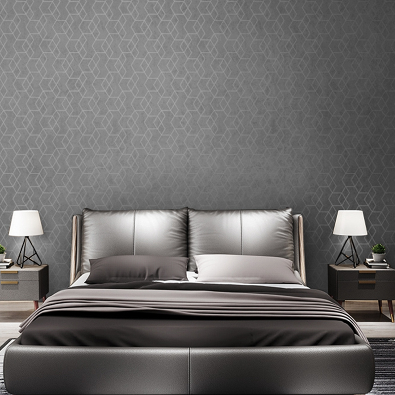 Dark Grey Luxury Geometric Wallpaper Roll Black Gray Wall Paper Modern Design Bedroom Living Room Background Home Wall Decor