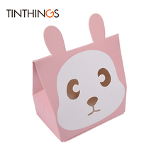 100 PCS Small Candy Box Cookies Chocolate Bear Rabbit Gift Paper Bags Kids Birthday Cartoon Packaging Wedding Favors