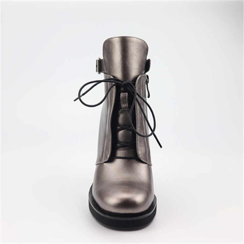ANNYMOLI kış yarım çizmeler kadın botları toka kare topuklu kısa çizmeler fermuar süper yüksek topuk ayakkabı bayanlar güz yeni boyutu 34- 40