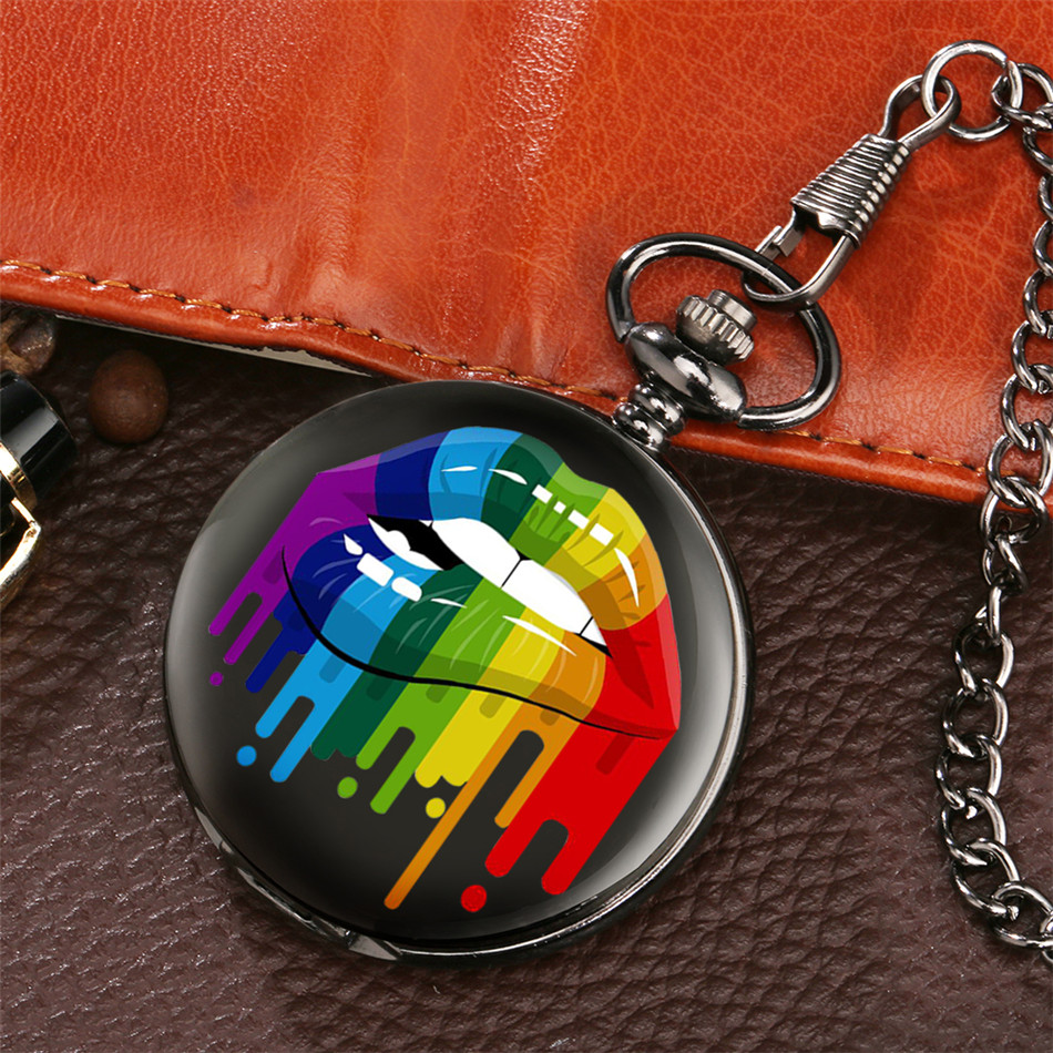 Colorful Lips Display Quartz Retro Pocket Watch Pocket Chain Pendant Clock Gifts Men Women