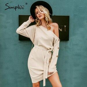 Image 4 - Simplee カジュアルニットプルオーバードレス秋冬ワンショルダーボタン女性ルースミディドレスエレガントなベルト付きニットドレス