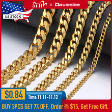 3/5/7mm Stainless Steel Necklace for Men Women Gold Black Silver Color Necklace Curb Link Chains Men Fashion Jewelry Gifts LKN12