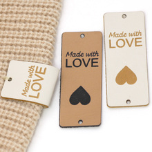 20/50Pcs Made With Love PU Leather Labels Handmade Tags For Clothes Hand Made Sewing Knitting Label Gift/Bag Decoration 5x2CM