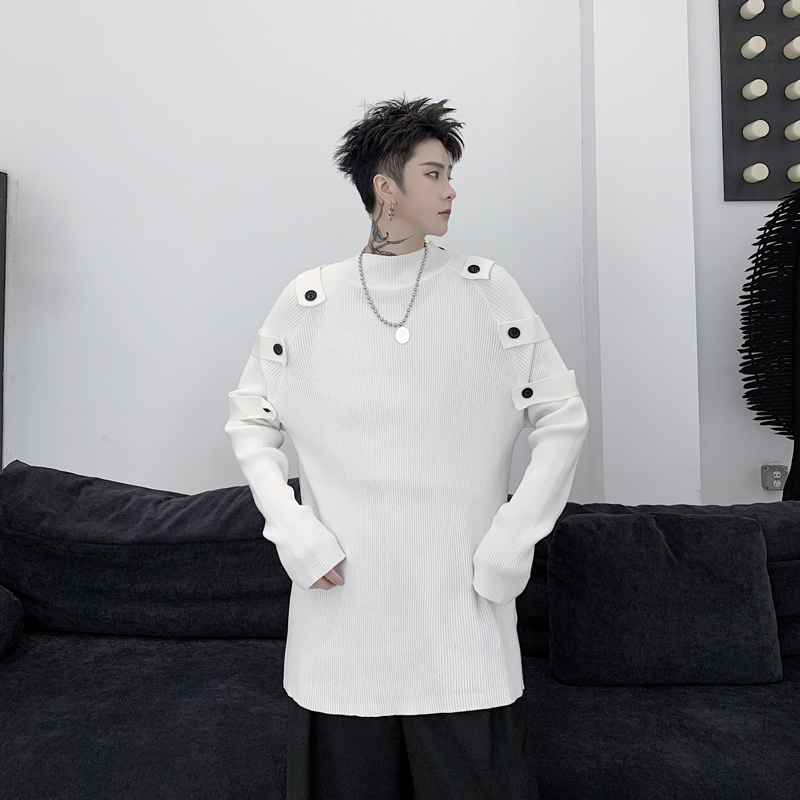 2020 Spring New Men Women Slim Fit Button Pullovers Sweater Male Japan Streetwear Fashion Hip Hop Punk Gothic Knitted Sweater