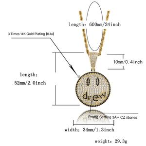 Image 5 - TOPGRILLZ Justin Bieber Drew Smiling Face Necklace Pendant With Tennis Chain Gold Silver Color Cubic Zircon Mens Hip Hop Jewelry