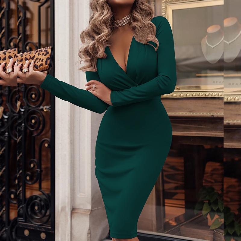 <font><b>Sexy</b></font> Deep V-Neck <font><b>Party</b></font> Wrap <font><b>Dress</b></font> Fold Overall Office <font><b>Women</b></font> Knee Length <font><b>Dress</b></font> Plus Size Female Bodycon Midi <font><b>Dress</b></font> Winter M0393 image