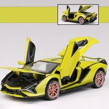 1/32 liga sian carro esportivo modelo de brinquedo simulação veículo som luz puxar para trás supercar brinquedos para crianças