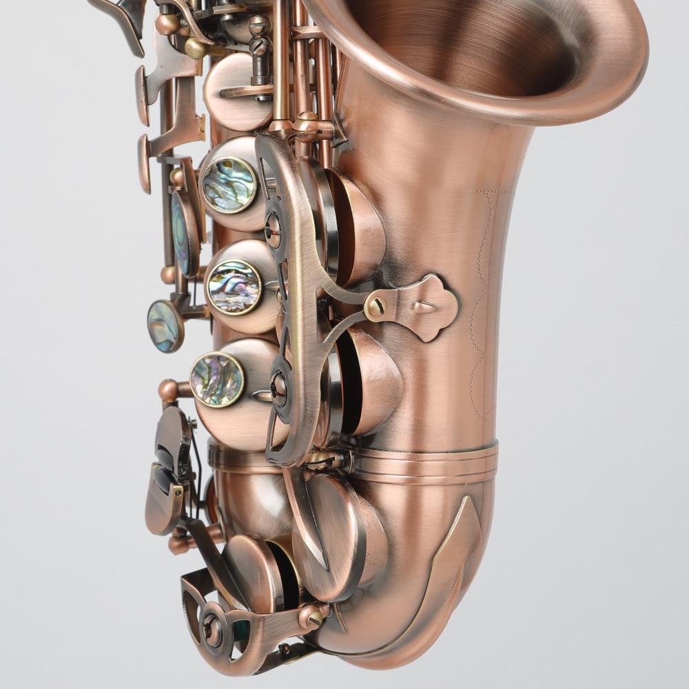 B плоский винтажный медный саксофон с тройным колено, Западный музыкальный инструмент 5