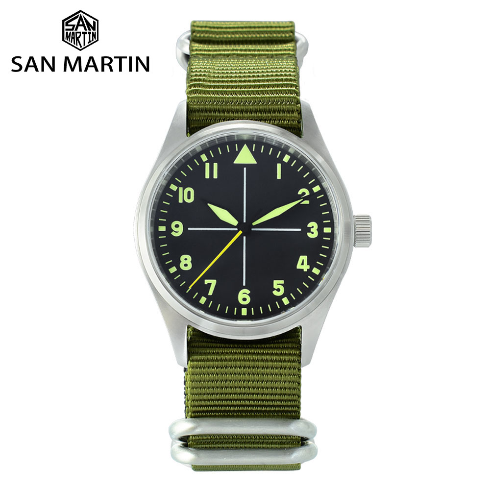 San Martin Stainless Steel Pilot Mens Automatic Mechanical Watch Luminous Waterproof NATO Nylon SapphireMechanical Watches   -