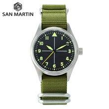 San Martin reloj mecánico automático para hombre, de piloto, de acero inoxidable, luminoso, resistente al agua, nailon, NATO Sapphire