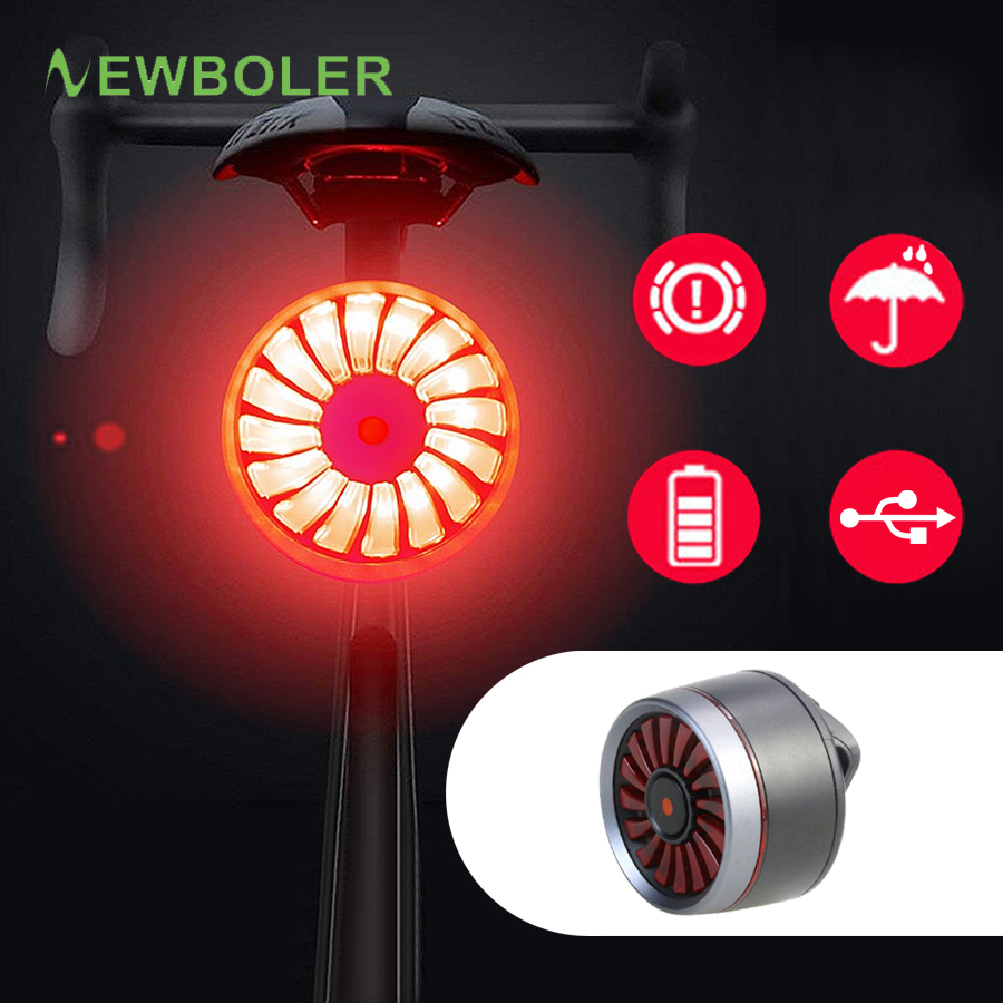 NEWBOLER Smart Induction Auto Brake Start/Stop Bike Tail Light USB Chargeable Waterproof Bicycle Rear Taillight Bike Accessories