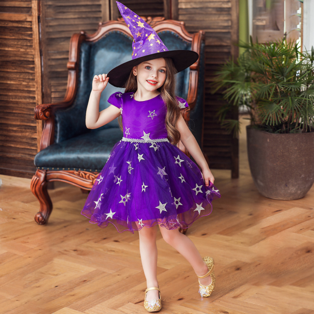 Hot Selling Halloween Clothing Children Witch Formal Dress Women's Wizard Gauze Performance Cosplay Dress
