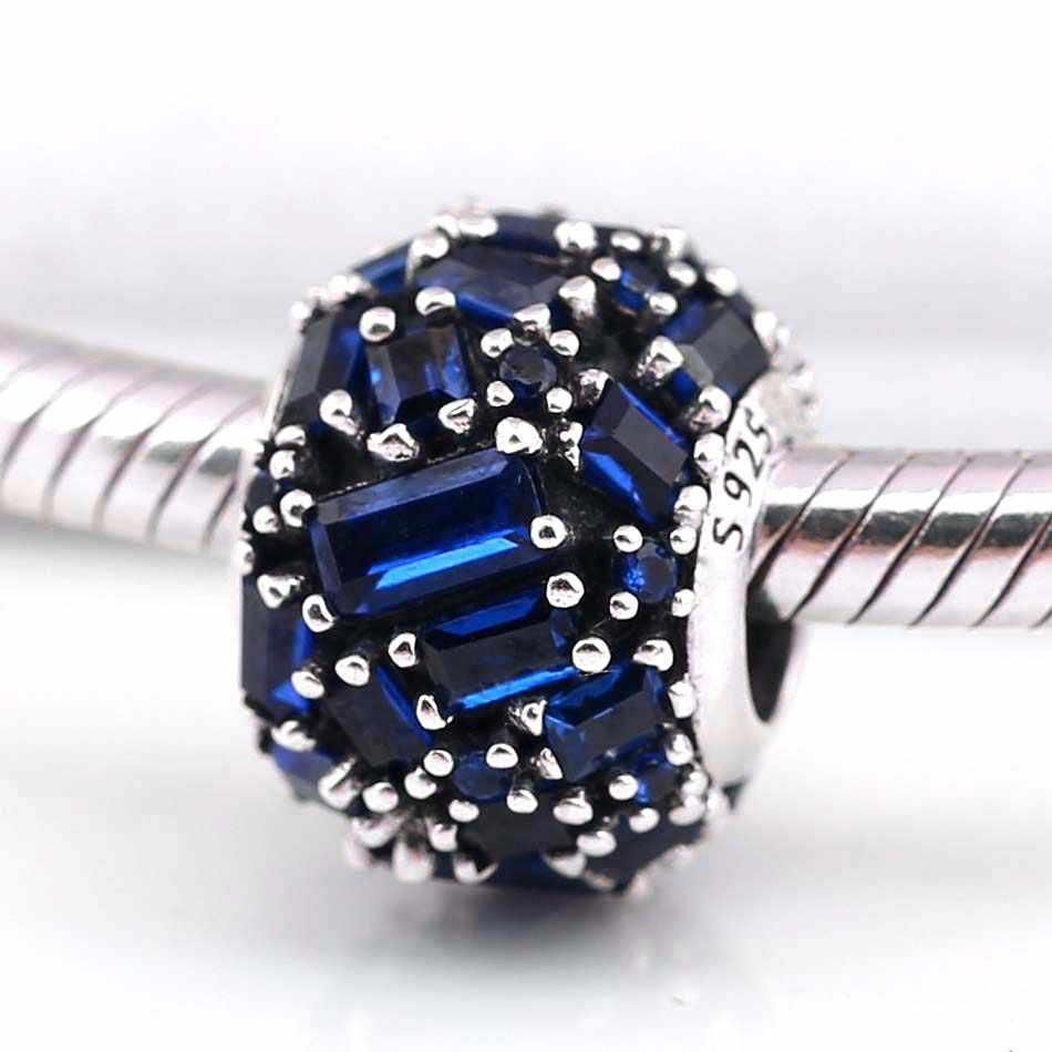 Original Biru Chisel Elegan dengan Baguette Manik-manik Kristal Fit 925 Sterling Perak Pesona Pandora Gelang Bangle Perhiasan
