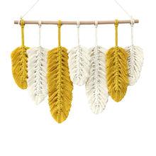 Новый дизайн подвески в виде листьев перьев гобелен из макраме