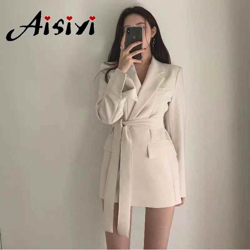 Aisiyi 2019 upadek kobiety blezery i kurtki biały blezer długa kurtka damska czarny marynarka peleryna plus size z długim rękawem kobiet garnitur