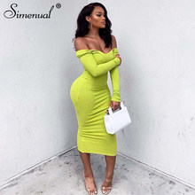 Simenual Sexy Mode Geribbeld Party Jurken Lange Mouwen Clubwear Off Shoulder Bodycon Dress Hot Herfst Skinny Maxi Jurk(China)