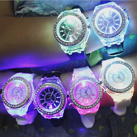 Flash Luminous Watch Led Men's Watches Personality Trends Students Watches Lovers Jellies Women Light Wrist Watch Kids Watch