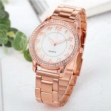 高級腕時計クォーツ時計ステンレス鋼ダイヤルカジュアルブレスレット腕時計シンプルでスタイリッシュな豪華な時計リロイmujer