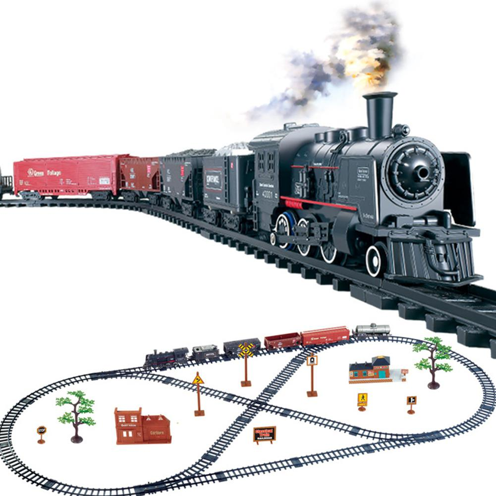 Kuulee Simulation Classic Train Track Toy Little Train Retro Steam Train Toy Set
