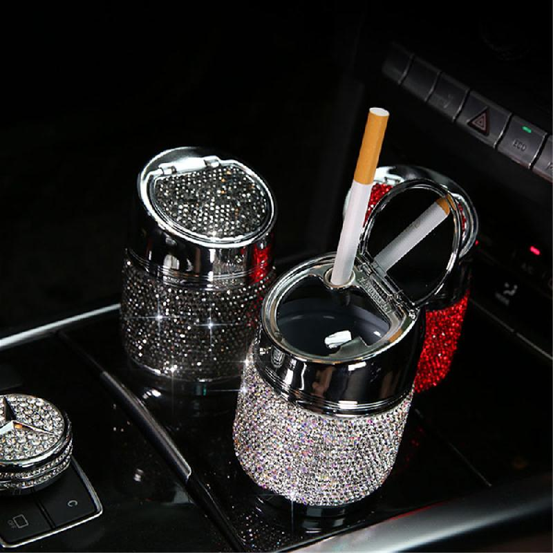 Luxury Diamond Car Ashtray Pink White Gold Color Crystal Shiny Auto Ashtray With Cover For Car Great Gift For Women Girls