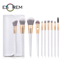 ESOREM Crocodile Scale 10pcs Makeup Brushes With Bag Tapered Blending Foundation Brush Loose Powder Pincel Maquiagem T-10-168