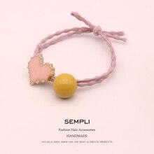 Sempli Korean 100% Nylon Elastic Hair Bands for Women Girls Dripping oil Heart Scrunchies Acrylic hair accessories Headwear