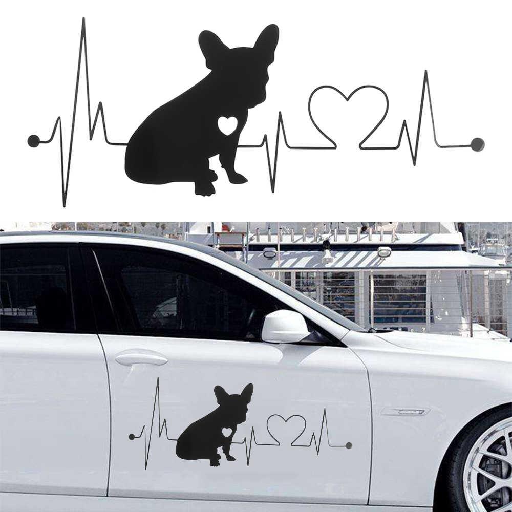 รถ Bulldog ฝรั่งเศสตลกไวนิลกันน้ำ Stickes ตกแต่งรถกันชนหน้าต่าง Decal รถยนต์อุปกรณ์เสริมภายนอก