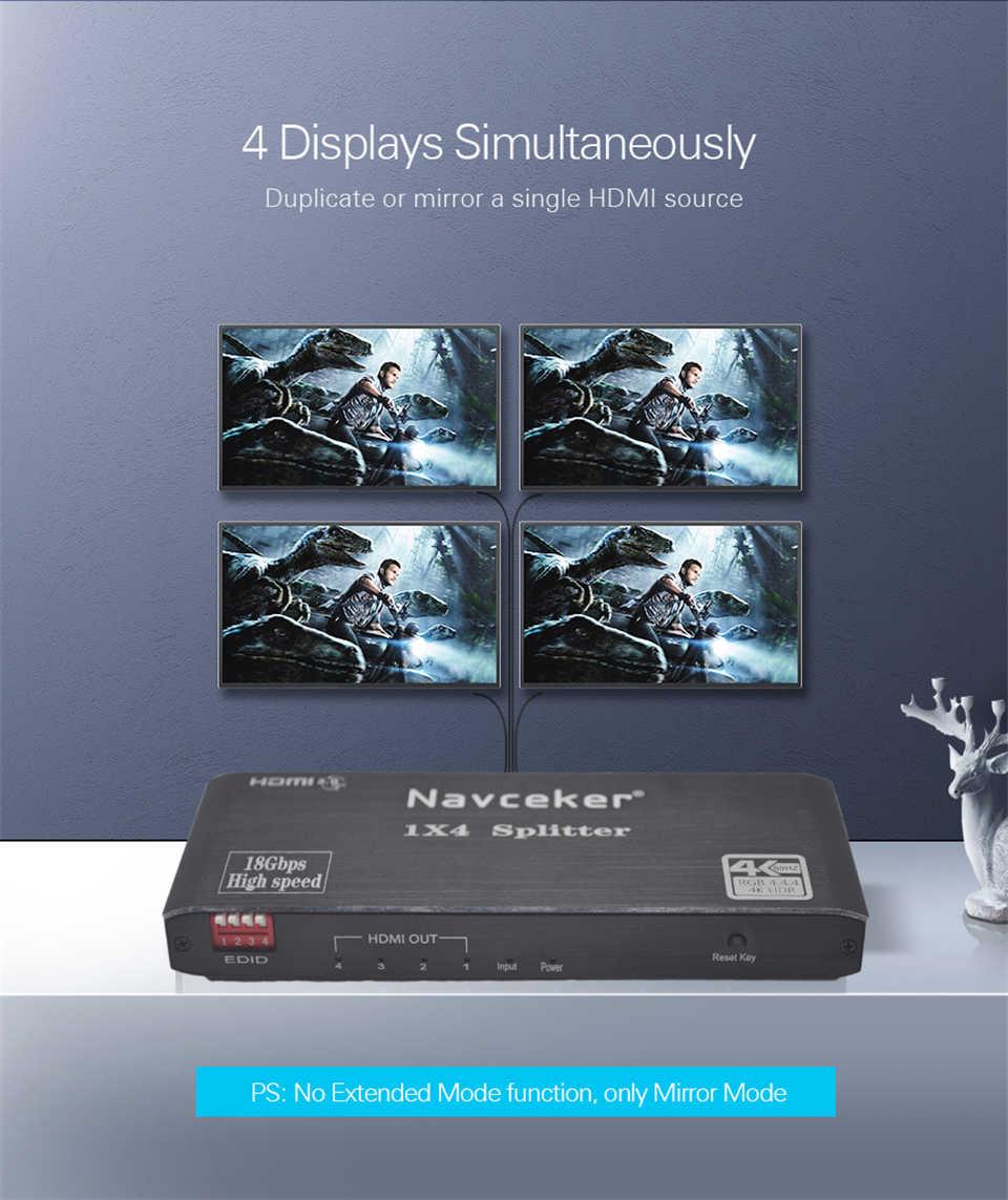 Navceker 4K Bộ Chia HDMI 1X2 Bộ Chia HDMI 1X4 Bộ Chia HDMI 4K 60Hz HDR HDMI Bộ Chia Switcher HDCP 2.2 Cho PS4 Màn Hình