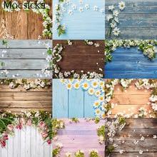 Mocsicka Wood Backdrop for Photography Spring Floral Rustic Board Petal Baby Food Portrait