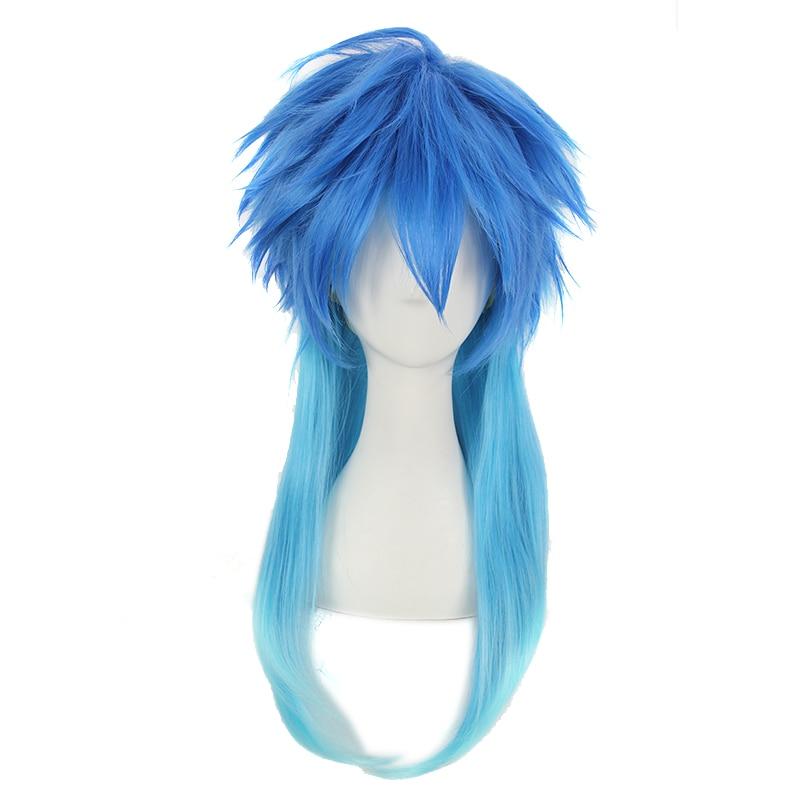 Janpanese DRAMAtical Murder Mens Seragaki Aoba Cossplay Wig DMMd Seragaki Aoba Role Play Blue Styled Hair