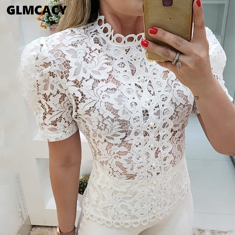 Women SummerTurtleneck Top Solid Lace Hollow Out Casual Blouse Female Long-sleeve Short Sleeve Shirt