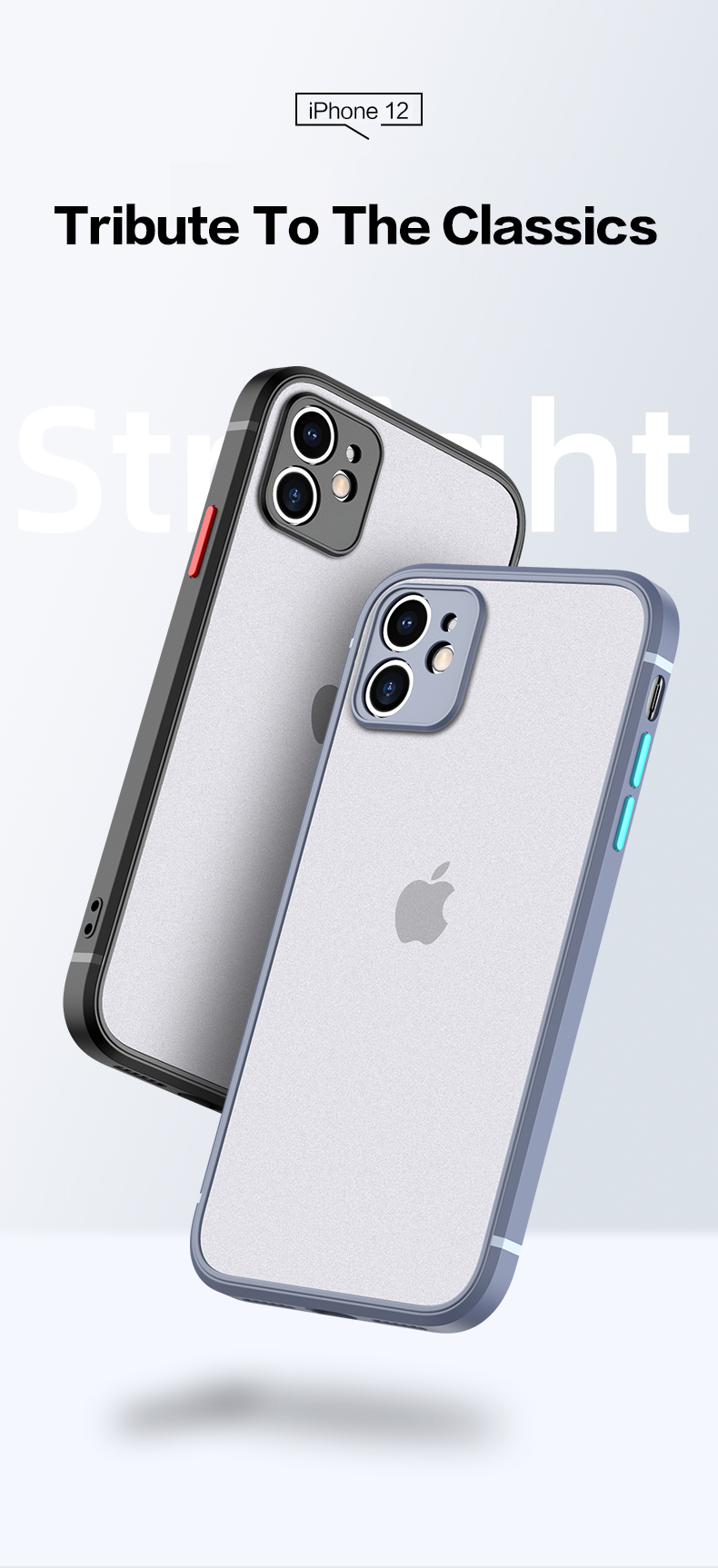 New Luxury Slim Matte Translucent Square Shockproof Case For iPhone 12 Pro