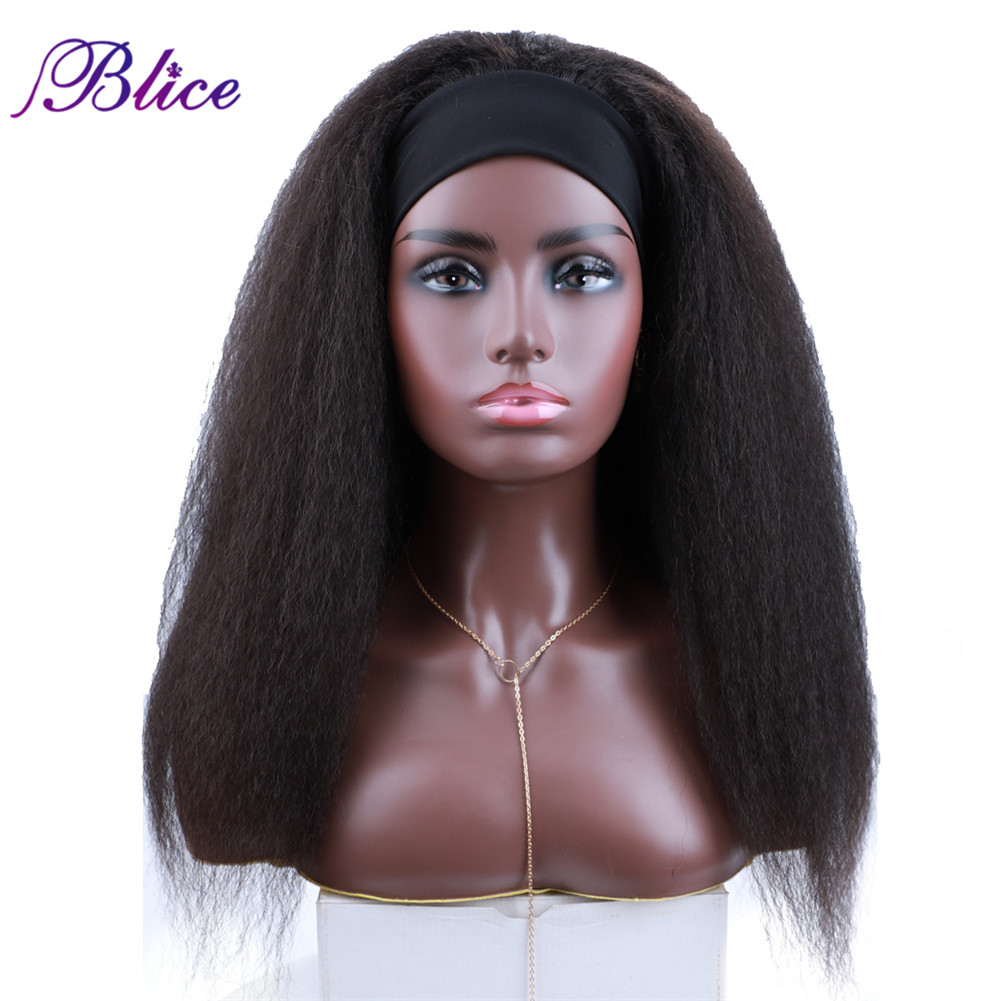 Wigs Synthetic-Hair-Extensions Long-Headband Kinky Straight Elastic American Women Blice